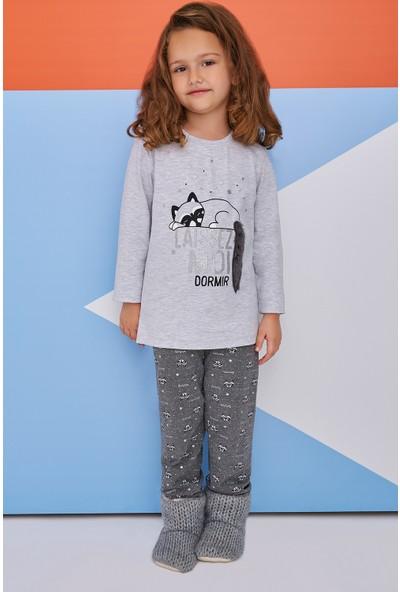 Roly Poly Sleeping Raccoon Kız Çocuk Pijama Takımı Açık Gri