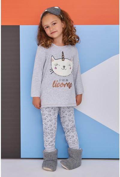 Roly Poly Caticorn Smiley Genç Kız Pijama Takımı Açık Gri