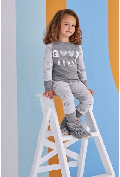 Roly Poly Good Bunny Genç Kız Pijama Takımı Koyu Gri