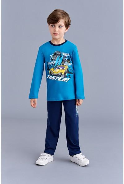 Hotwheels Lisanslı Erkek Çocuk Pijama Takımı Petrol
