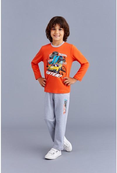 Hotwheels Lisanslı Erkek Çocuk Pijama Takımı Oranj