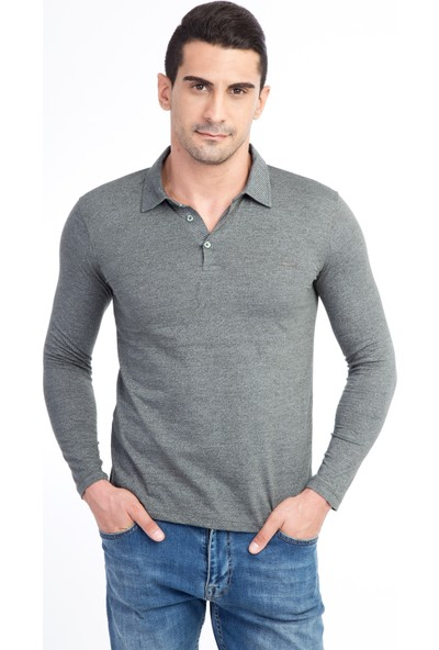 Kiğılı Polo Yaka Tasarm Sweat Shirt