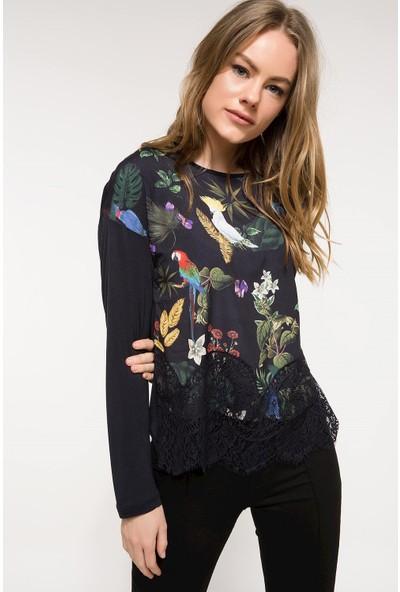 Defacto Kadın Dantel Detaylı Desenli Bluz