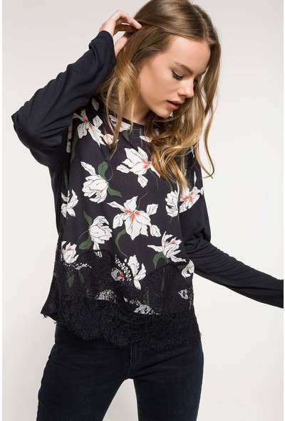 DeFacto Dantel Detaylı Çiçek Desenli Bluz I9920AZ18SP