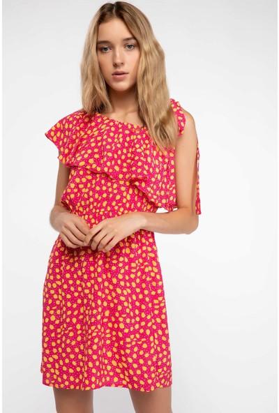 Defacto Kadın Fırfır Detaylı Tek Kol Desenli Elbise