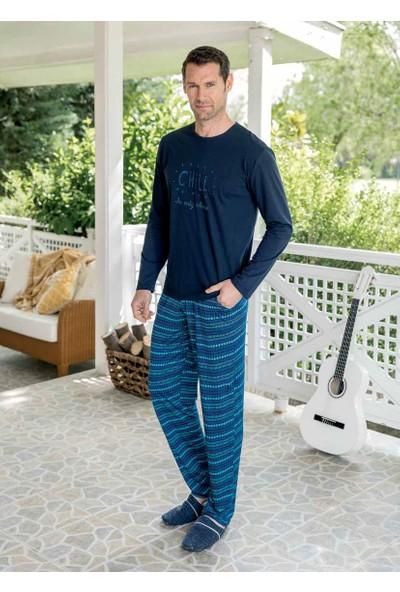 Yeni İnci EPJ672 Külot Hediyeli Uzun Kollu Erkek Pijama Takımı