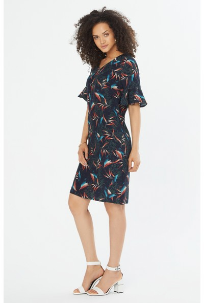 Naramaxx V Yaka Kolu Volanlı Elbise