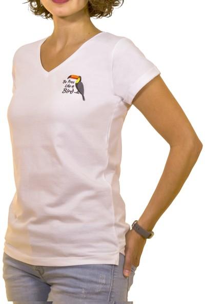 Night Night Kadın Organik Tukan V Yaka Tshirt