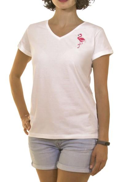 Night Night Kadın Organik Flamingo V Yaka Tshirt