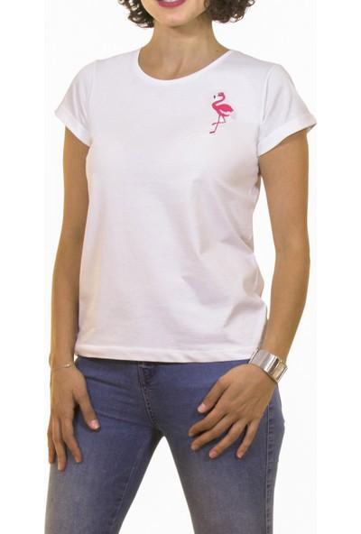 Night Night Kadın Organik Flamingo Bisiklet Yaka Tshirt