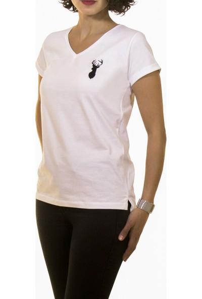Night Night Kadın Organik Geyik V Yaka Tshirt