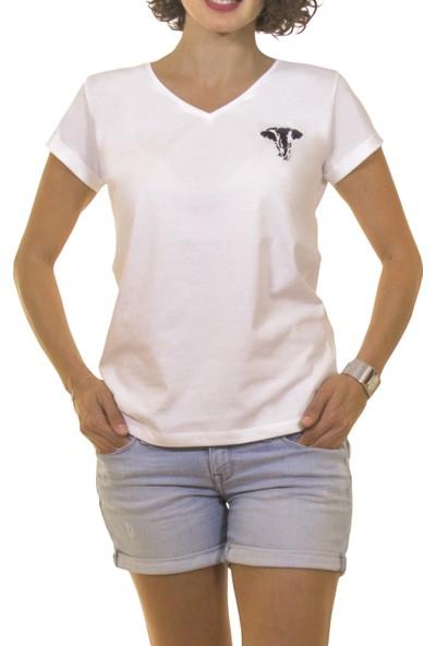 Night Night Kadın Organik Fil V Yaka Tshirt