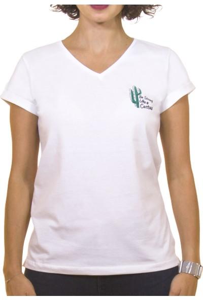 Night Night Kadın Organik Kaktüs V Yaka Tshirt