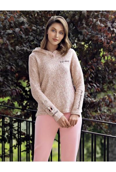 Mel Bee Kapşonlu Kadın Pijama Takımı Bej MBP23620-1
