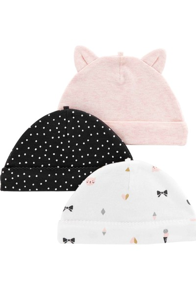 Carter's Layette Kız Bebek 3'Lü Şapka 126H449