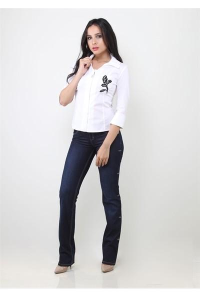 Dodona 1107 Koyu Denim Kadın Pantolon