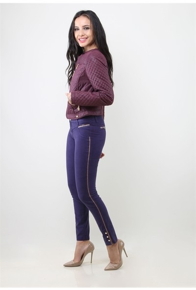 Dodona 8027 Tasarım Mor Kadın Pantolon