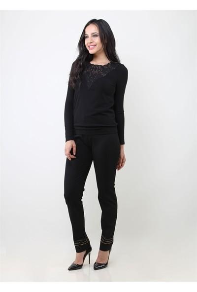 Dodona 2661 Paçaları Taşlı Siyah Kadın Pantolon