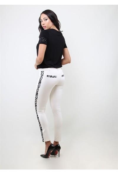 Dodona 1390 Yanları Desenli Şık Beyaz Kadın Pantolon