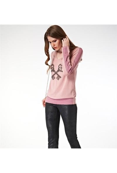 Dodona 2024 Zircon Taşlı Deri Görünümlü Kadın Pantolon