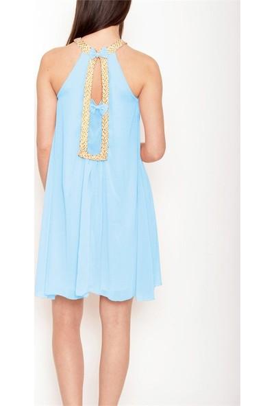 Obirtrend 3031 - Mint Altın Desen Detaylı Elbise