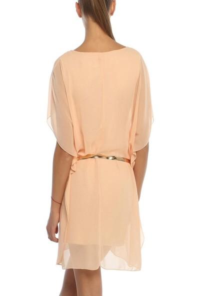 Obirtrend 3044 - Pudra Tül Detaylı Bel Kemerli Kadın Elbise