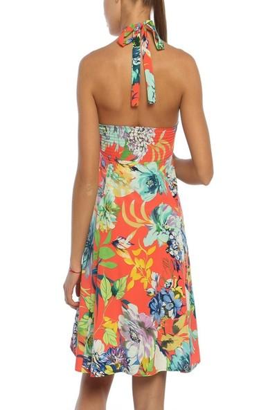 Obirtrend 3054 - Turuncu Ip Askılı Kadın Elbise