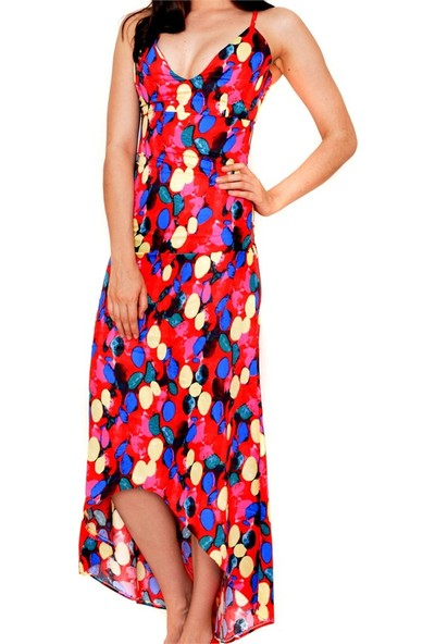 Obirtrend 3060 - Renkli V Yaka Dekolteli Uzun Elbise