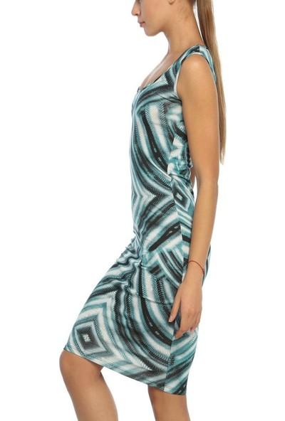 Obirtrend 3066 - Yeşil Geometrik Desenli Açık Bisiklet Yaka Kadın Elbise