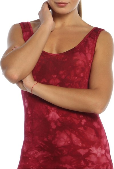 Obirtrend 3072 - Bordo Batik Desenli Uzun Elbise