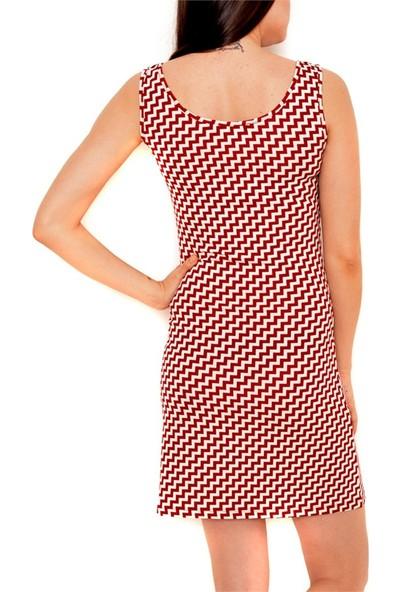 Obirtrend 3076 - Bordo Çapraz Çizgi Desenli Kısa Elbise