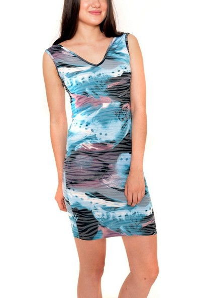 Obirtrend 3105 - Mavi V Yaka Desenli Kısa Elbise