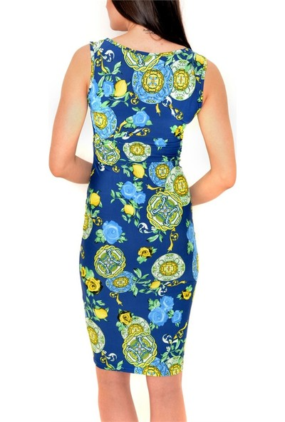 Obirtrend 3107 - Mavi Kolsuz Diz Boyu Elbise