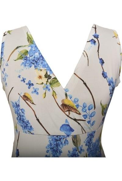 Luvmabelly 5502 Çiçekli Lohusa Emzirme Elbise