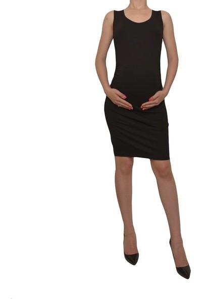 Luvmabelly 5007 Düz Siyah Büzgülü Hamile Elbisesi