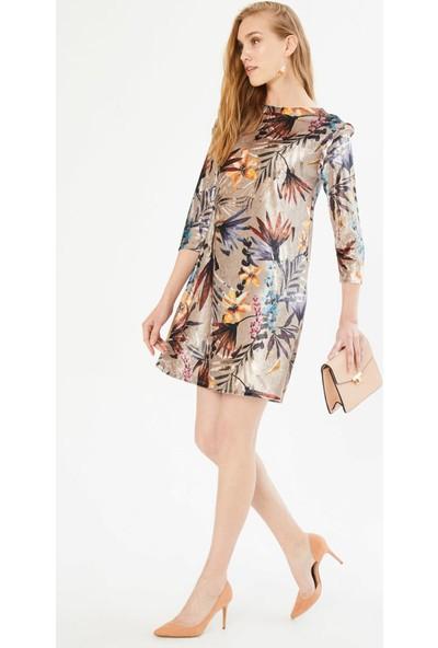Xint Yuvarlak Yaka Fırfırlı Kol Elbise