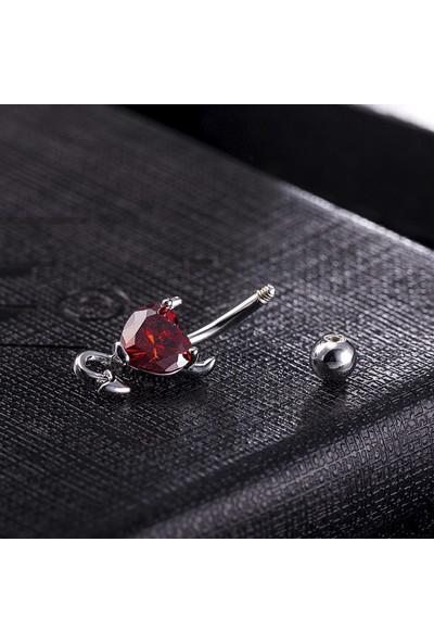 Chavin Kırmızı Kalp Taşlı Şeytan Çelik Göbek Piercing Dt70Kr