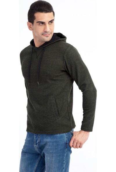 Kiğılı Kapüşonlu Tasarım Slim Fit Sweatshirt