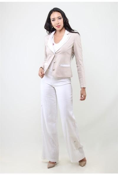 Dodona 1133 Beyaz Keten Pantolon
