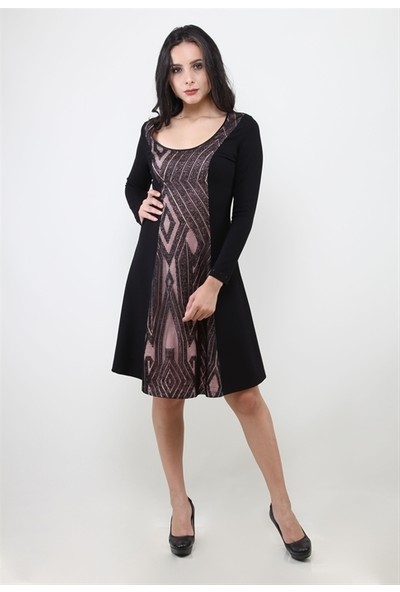 Dodona 3004 Önü Dantel Detaylı Siyah Elbise