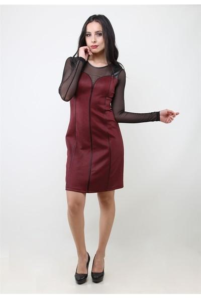 Dodona 3014 Tasarım Bordo Elbise