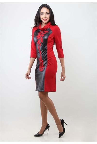Dodona 3231 Tasarım Kırmızı Elbise