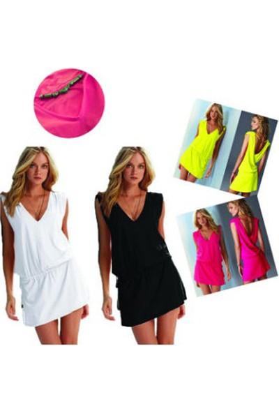 Mite Love Seksi Yazlık Plaj Elbise Likralı Pembe