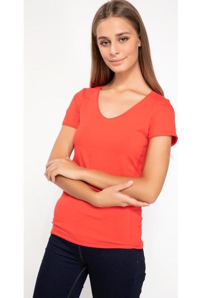 Defacto I1073Az18 V Yaka Basic T-Shirt
