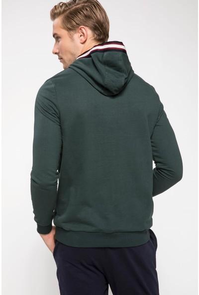 Defacto J1131Az18 Slogan Baskılı Kapşonlu Sweatshirt