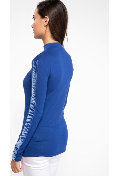 Defacto J2586Az18 Kolları Kadife Şerit Detaylı Uzun Kollu T-Shirt