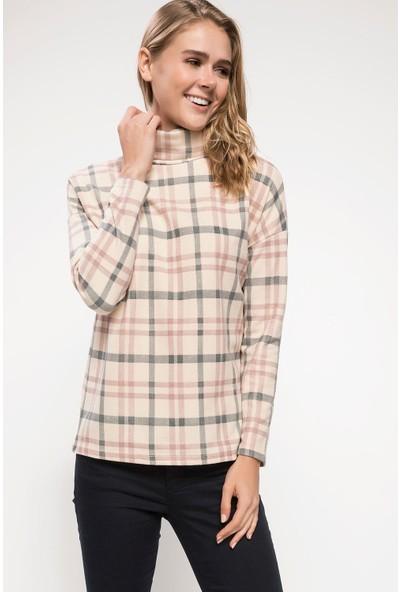 Defacto J4034Az18 Uzun Kollu Boğazlı Kareli T-Shirt