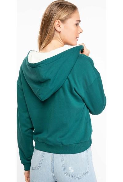 Defacto J6800Az18 Peluş Kapşonlu Fermuarlı Sweatshirt