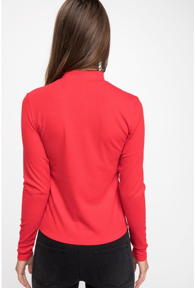 Defacto J9852Az18 Yaka Detaylı Slim Fit Uzun Kollu T-Shirt