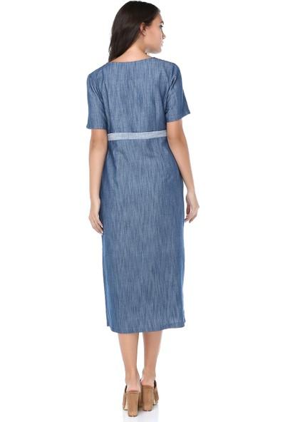 B&S Line Kadın Düğmeli Mavi Tensel Elbise